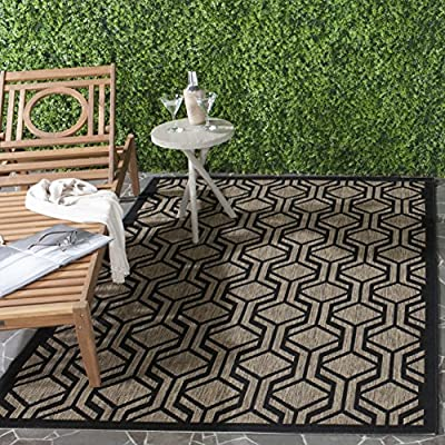 """Safavieh Courtyard Collection CY6114-81 Brown and Black Indoor/ Outdoor Area Rug (5'3"""" x 7'7"""") - The high-quality polypropylene pile fiber adds durability and longevity to these rugs The power loomed construction adds durability to this rug, ensuring it will be a favorite for a long time The modern style of this rug will give your room a contemporary accent - living-room-soft-furnishings, living-room, area-rugs - 61ZCxsRdhcL. SS400  -"""