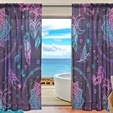 My Little Nest Boho Chic indian Dream Catcher Feathers Pattern Sheer Window Curtains Drapes 55 X 78 inch Decorative Window Treatments for Bedroom Living Room 2 Panels