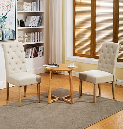 Muzii Fabric Dining Chairs Modern Elegant Armless Chairs Dining Room Chair With Solid Wood Legs Set of 2 Review