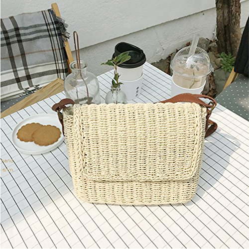 Sunmmer Hand Peerless woven Rectangular Bag Beach Crossbogy Chic Bags Womens Straw Vacation Vintage Natural Beige qYTvqB