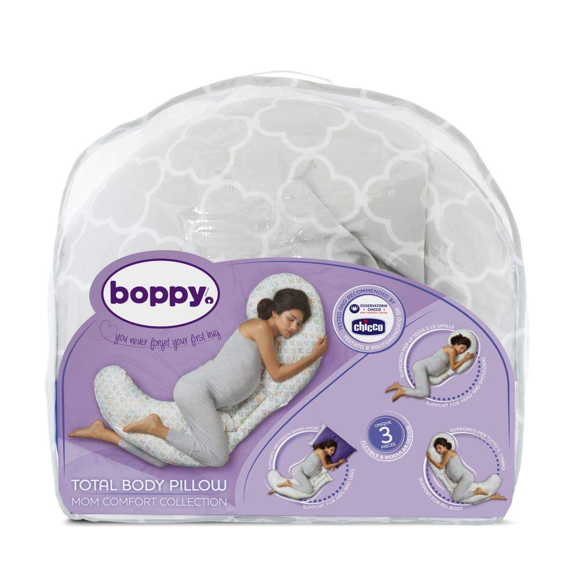Boppy- Cojín de embarazo modular 3 piezas de algodón, máxima adaptabilidad, color blanco estampado