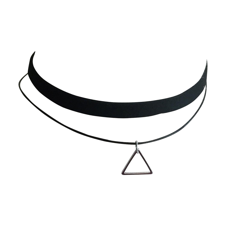 Malibu Sundry Double Strand Choker Necklace with Triangle Pendant 7777891142