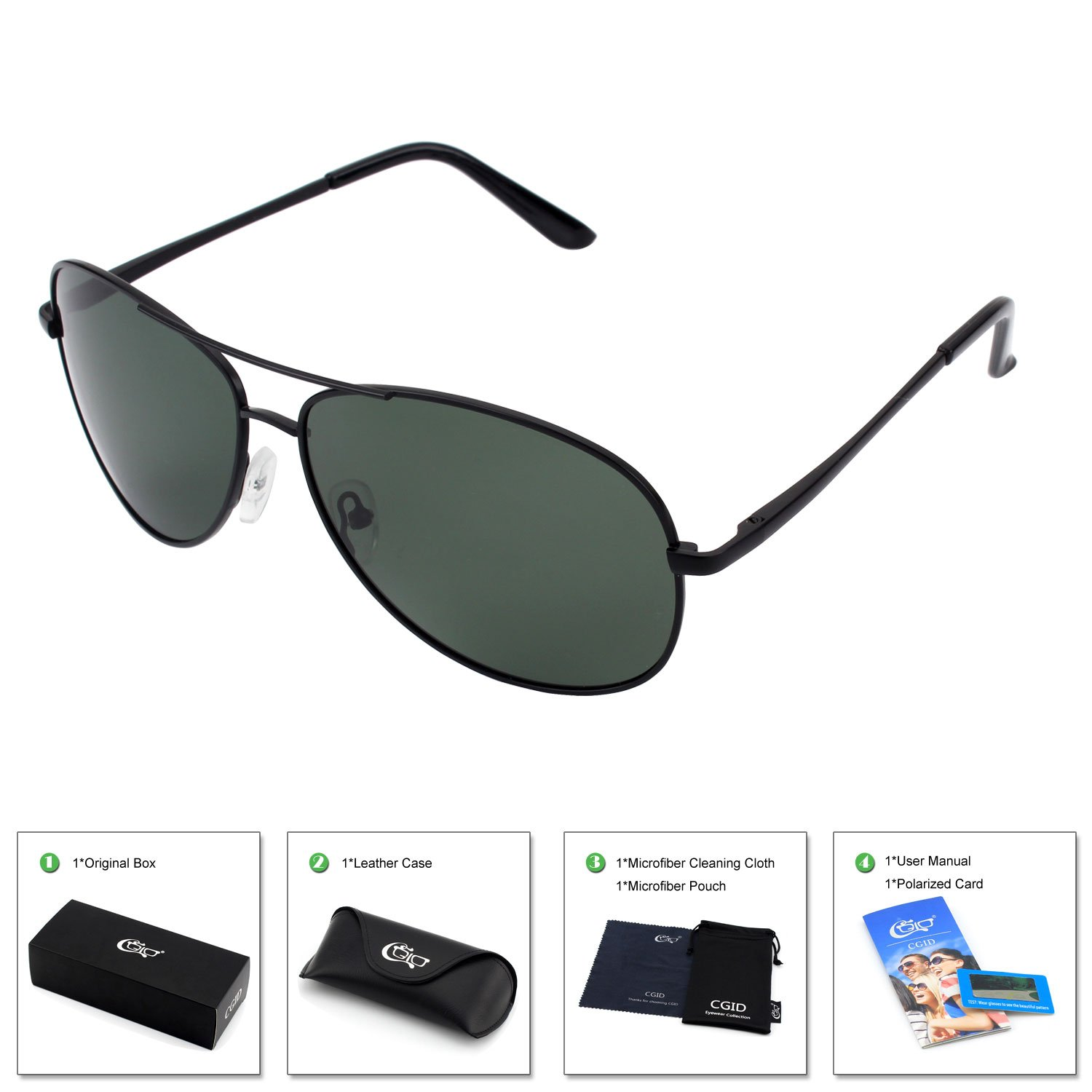 CGID GA61 Premium Al-Mg Pilot Polarized Sunglasses UV400 Mirror for Men Women US17MJ161-1