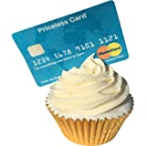 Pre-cut edible wafer credit/debit card - Priceless - Pack of 6 full sized tasty cake decorations/toppers 201-714 by CDA Products (Plastercard not Mastercard!)