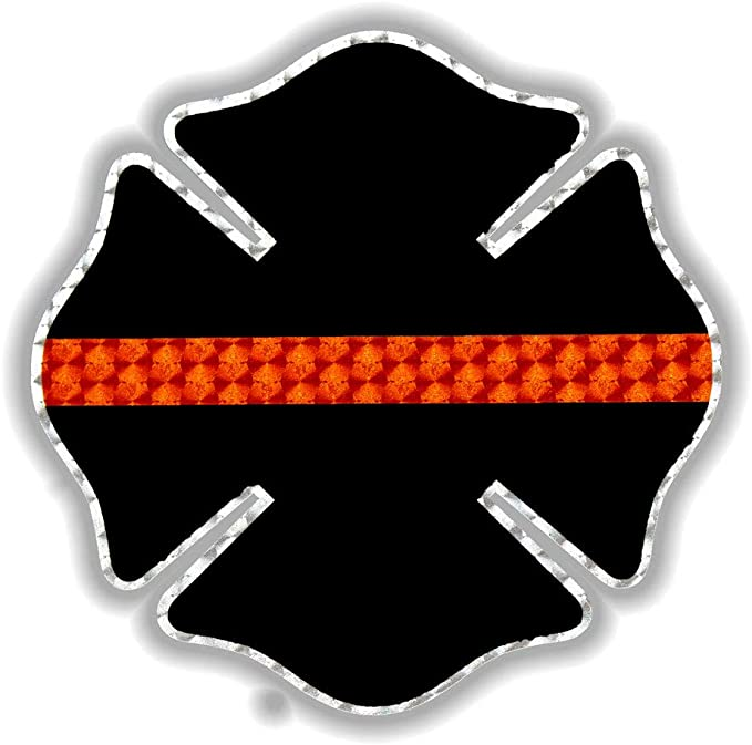 First Responders Pfaff Signs American Flag Maltese Cross Engine Turn Vinyl Decal Premium Vinyl Laptop Sticker 5.25 x 5.25| Vehicle Decals Support Firefighters