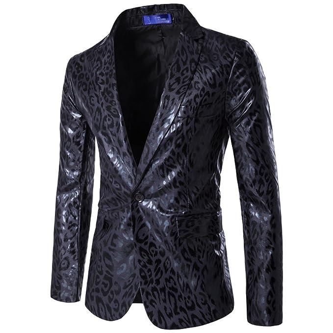 ZhuiKun Blazer Estampado Leopardo Chaqueta de Traje para Hombre