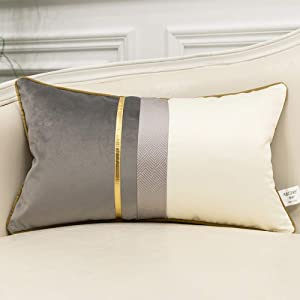 Avigers 12 x 20 Inches Gray White Gold Leather Striped Patchwork Velvet Cushion Case Luxury Modern Throw Pillow Cover Decorative Pillow for Couch Living Room Bedroom Car