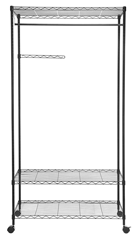 Attractive HollyHOME Sturdy Closet Organizer With Wheels, Shelving Garment Rack  Rolling Clothes Rack Movable Wardrobe With