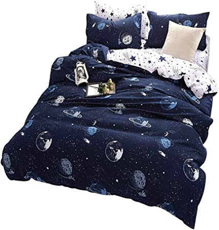 Space Planets Outer Space Stars Rockets Kids Blue Navy Duvet Quilt Cover Bedding