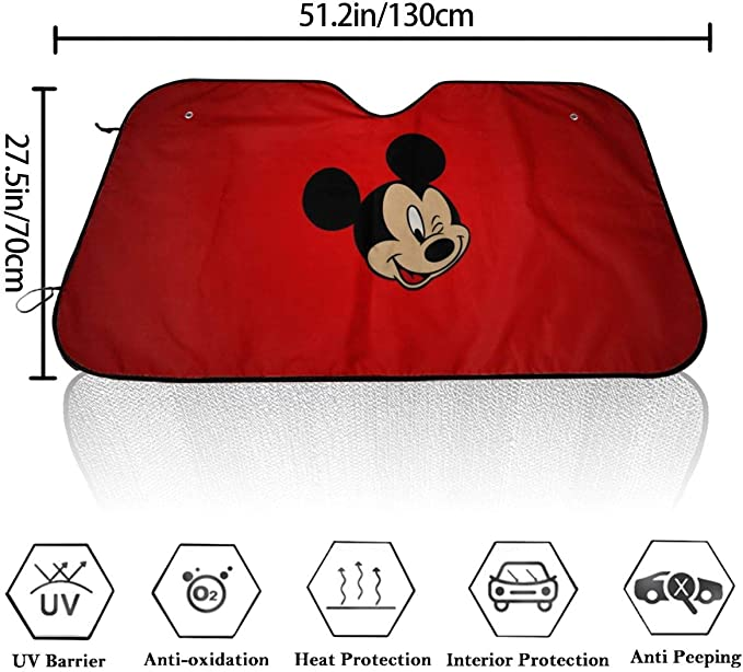 with 4 Suction Cups Heat Shield for Car Windshield 70x130 cm YAGEAD Mickey Mouse Minnie Car Sunshade Windshield Anti-UV Car Universal Shield Cover Protector Rays Sun Foldable Visor