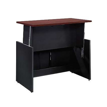 Amazon Com Sauder 422623 Via Sit Stand Desk Classic Cherry Finish
