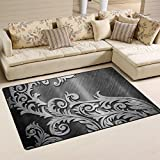 XiangHeFu Area Rugs Doormats Rattan Metal Silver 5'x3'3 (60x39 Inches) Non-Slip Floor Mat Soft Carpet for Living Dining Bedroom Home