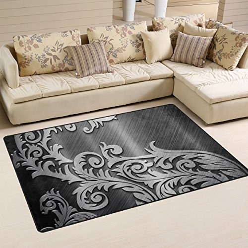XiangHeFu Area Rugs Doormats Rattan Metal Silver 5'x3'3 (60x39 Inches) Non-Slip Floor Mat Soft Carpet for Living Dining Bedroom Home by XiangHeFu