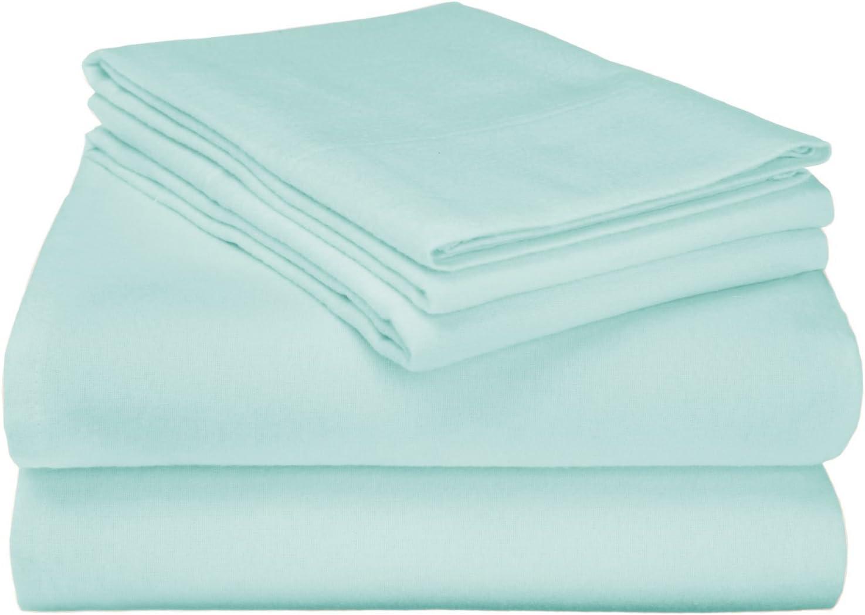 SUPERIOR 100% Flannel Cotton Sheet Set - Cotton Bed Sheets, Deep Pocket Sheets, Solid Light Blue, King Size