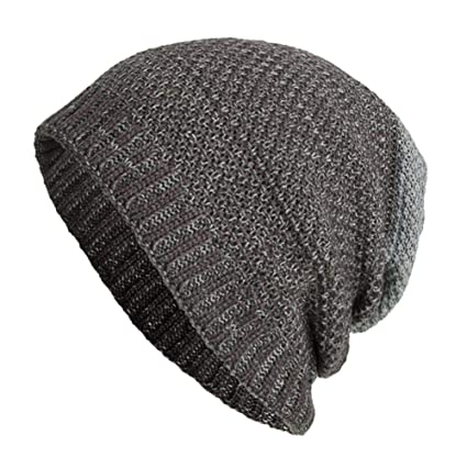 2c1a241ef13 Image Unavailable. Image not available for. Color  SUKEQ Slouchy Beanie Hat  Daily Knit Skull Cap Winter Warm Ribbed Snow Ski Cap Men Women