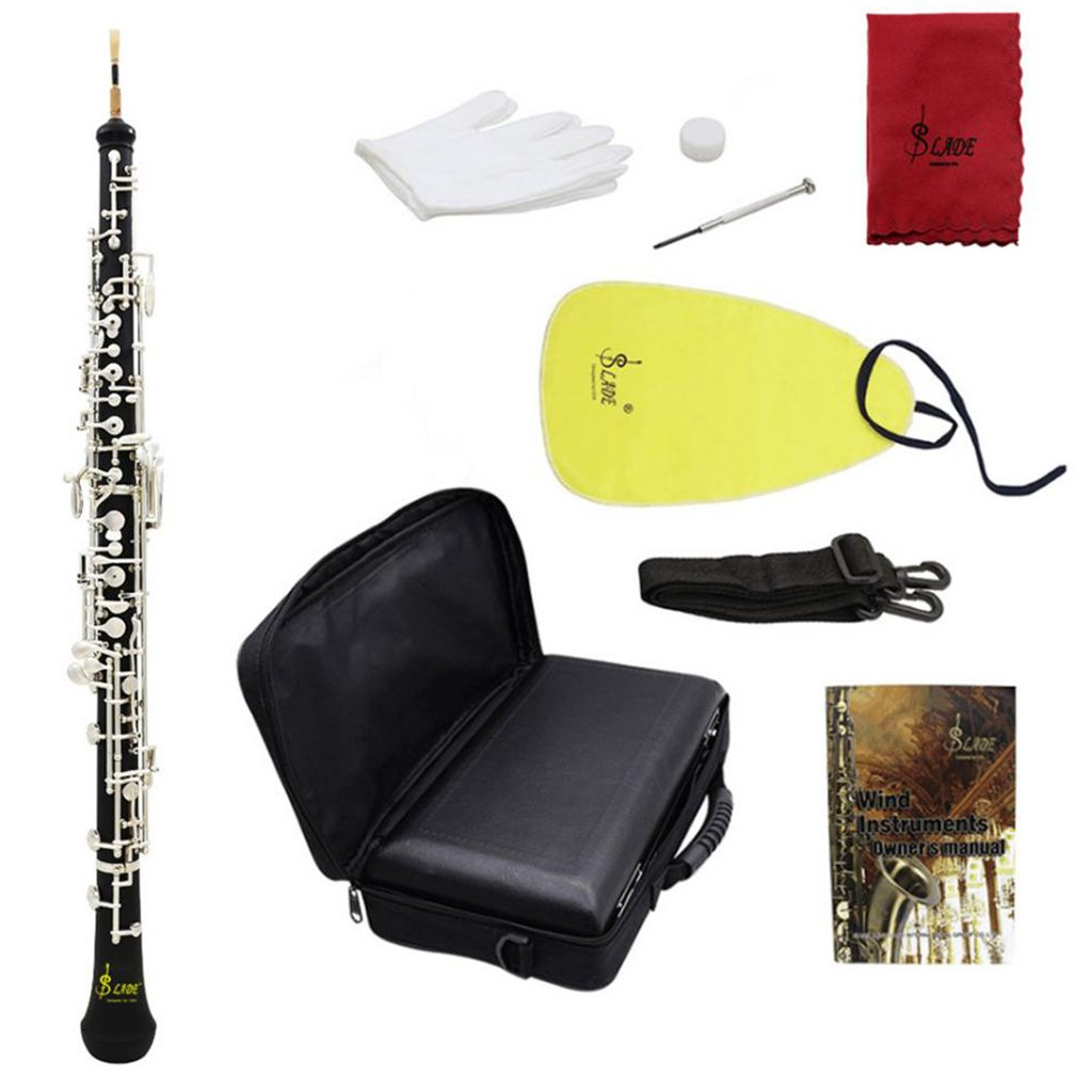 MonkeyJack Orchestral Wind Instrument C Key Oboe with Oboe Reeds Lubricant Screwdriver