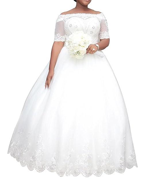 Vivibridal Women\'s Vintage Plus Size Wedding Dresses Half Sleeve Lace  Bridal Ball Gowns