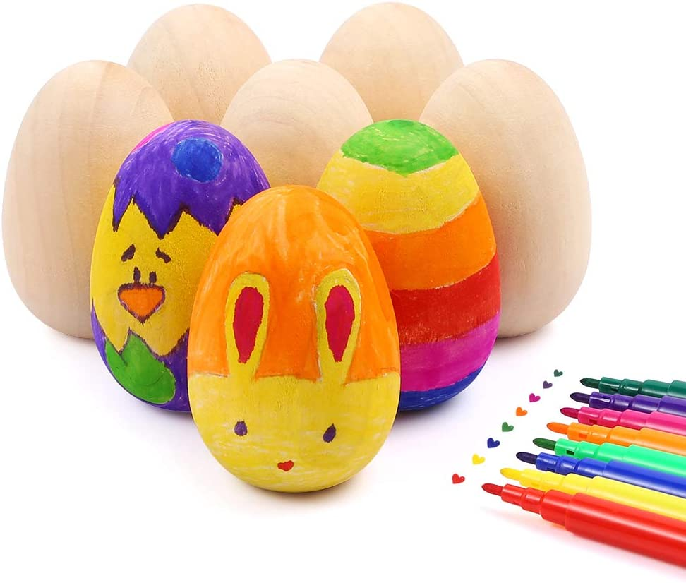 Caydo 26 Pieces 2.36 Unfinished Wooden Easter Eggs with 12 Colors Markers and Yellow Shredded Tissue for Easter Crafts DIY Painting and Displays