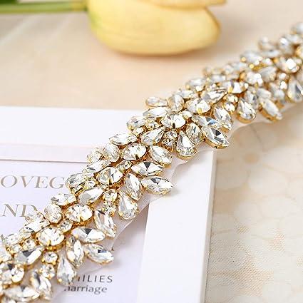 bridal headband headpiece garter embellishment Gold Rhinestone trim applique Slim thin crystal beaded Sash belt applique