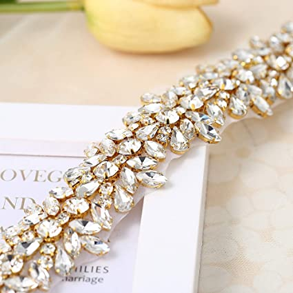 Image Unavailable. Image not available for. Color  Luxury Bling Crystal  Rhinestone Applique Trims 1 Yard for Bridal ... 160814aaaa69