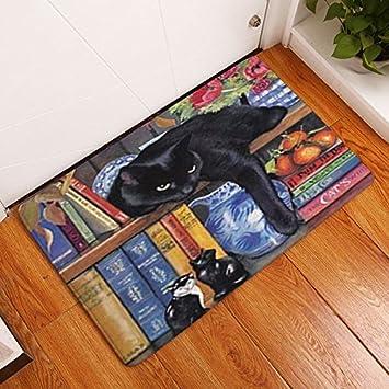 Rectangular luz, Bienvenido a casa puerta alfombrillas Funny Lazy Cat Patrón de dormir estantería Alfombras 4060 cm de grosor baño alfombras: Amazon.es: ...