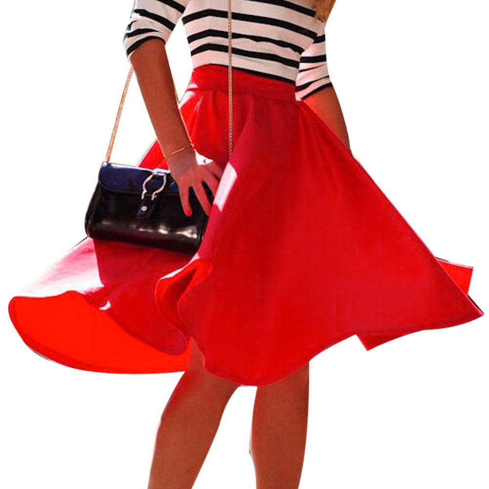 WENSY Vintage Women Stretch High Waist Solid Color Skater Flared Pleated Swing Long Skirt Dress Big Skirt (Red,XL)
