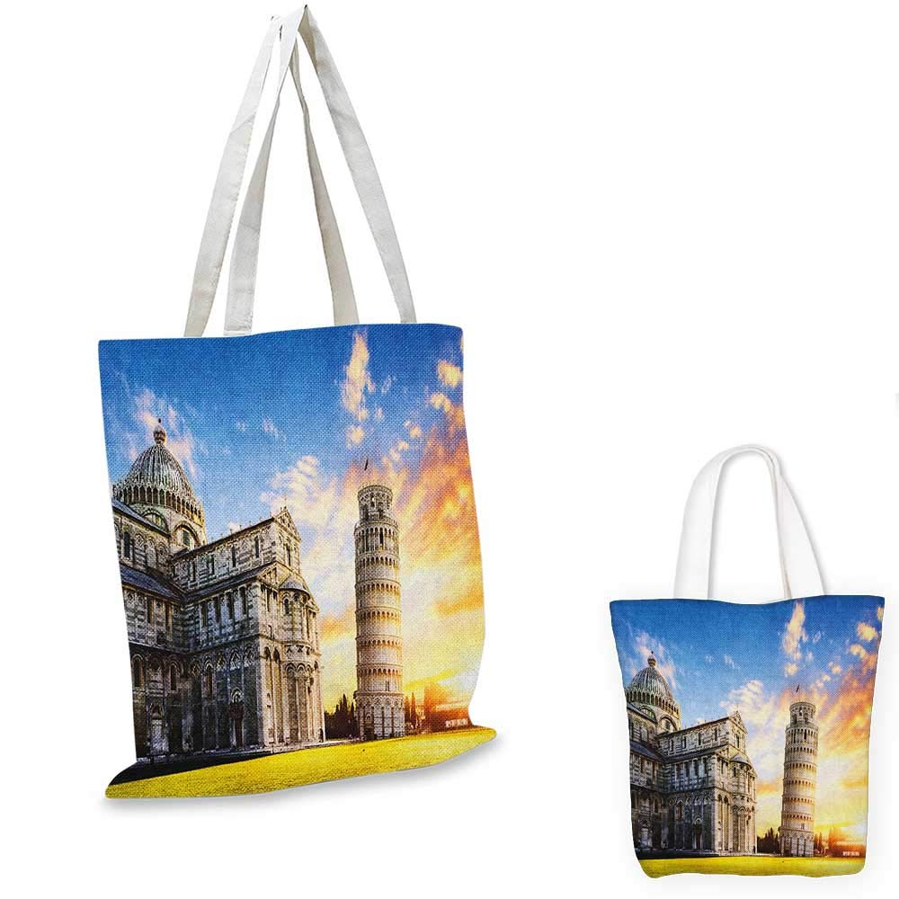 Italy canvas messenger bag Narrow Paves Street Among Old Houses in Town Serralunga DAlba Piedmont canvas beach bag Pale Orange Brown Pink 12x15-10