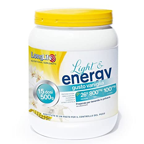 Long Life – Light and energy – Gusto Vainilla – 500 g Come 15 Dosi de