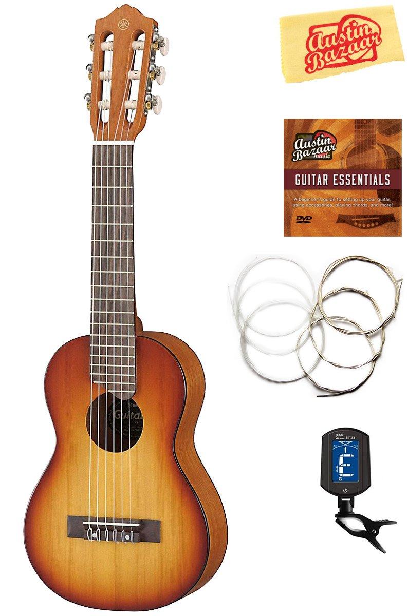 Yamaha GL1 Guitalele Guitar Ukulele - Tobacco Brown Sunburst Bundle with Gig Bag, Tuner, Strings, Austin Bazaar Instructional DVD, and Polishing Cloth