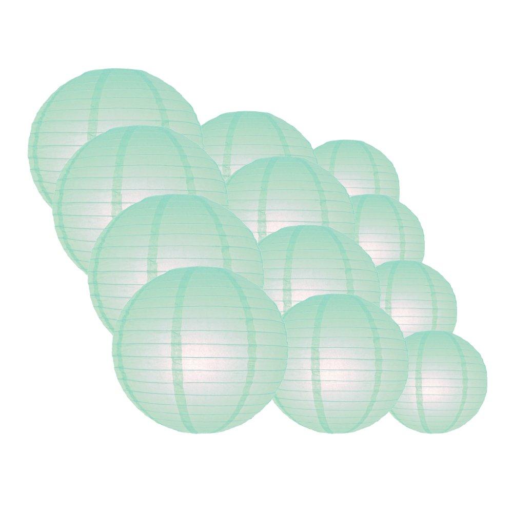 Quasimoon EVP-IC-CP12 12pcs Pack (12/10/8 Inch) Paper Lanterns Even Ribbing, Arctic Spa Blue, 12 Piece Set