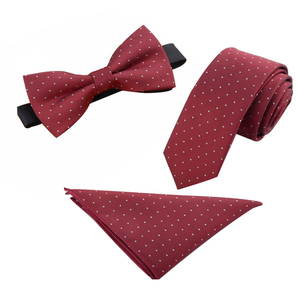 Mens Skinny 2.4'' Neck Tie Bow Tie Pocket Square Handkerchief 3pcs Set (Green Small White Dots)