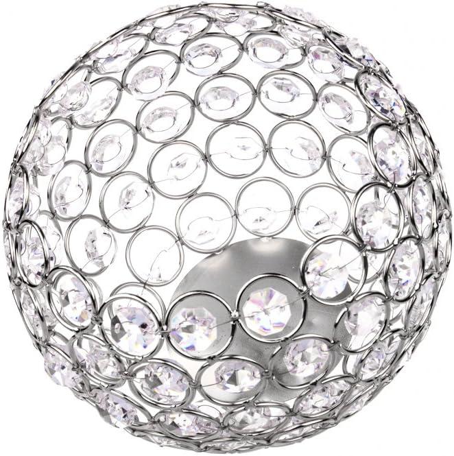 Feyarl Bol en Cristal Brillant Fleur Artificielle Organiseur Pinceaux de Maquillage Support pour Bougie Votive Bougie Boule Lanterne pour Mariage Home Office Deco Argent/é