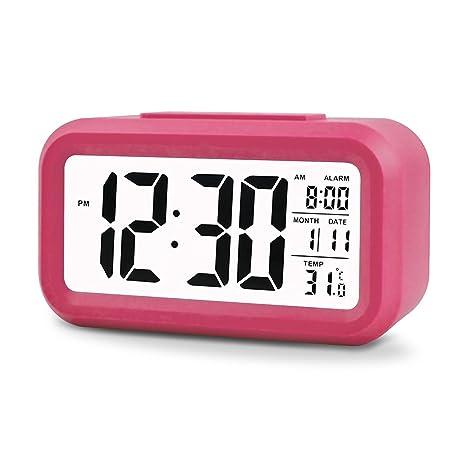 Telisx LED, LCD y pantalla grande Reloj despertador-Termómetro digital de mesa para alarma