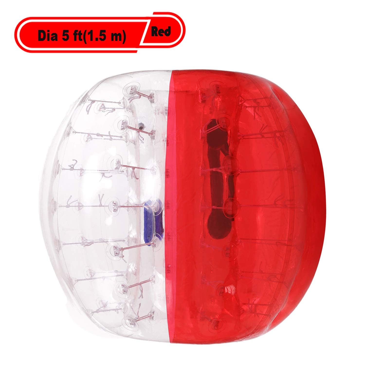 Yiilove Inflatable Bumper Ball 4 ft/5 ft(1.2/1.5 m) Bubble Soccer Ball Transparent Material Human Knocker Ballfor Adults and Kids (Dia 5 ft(1.5 m)-Red)
