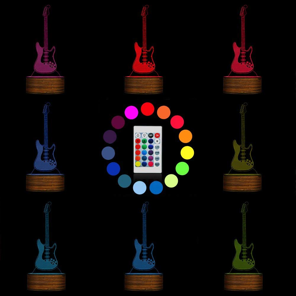 Novelty Lamp, 3D LED Lamp Optical Illusion Guitar Night Light, USB Powered Remote Control Changes The Color of The Light, Children's Friends Birthday Party, Ambient Light by LIX-XYD (Image #2)