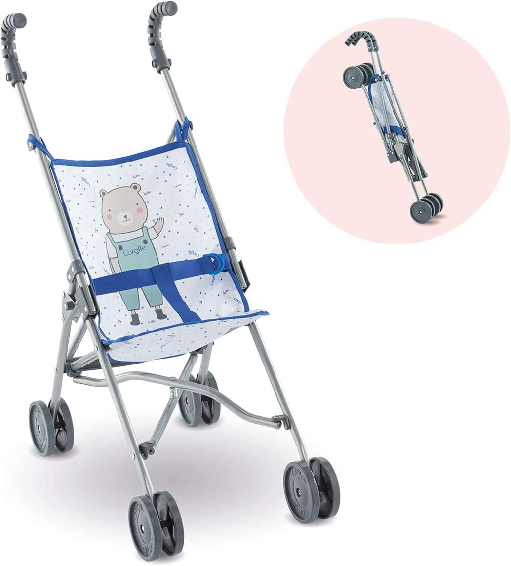 "Corolle Umbrella Baby Doll Stroller - for Mon Grand Poupon 14"" and 17"" Dolls, Folding with 2 Locking Points for Safety, Blue"