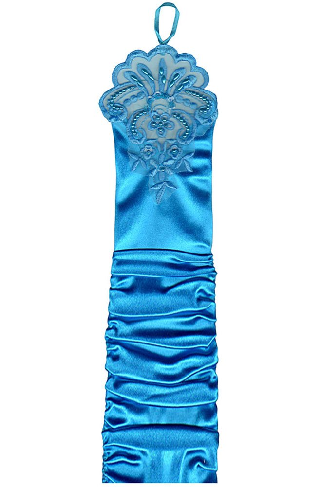 17'' Turquoise Fingerless Lace Stretch Satin Bridal Gloves