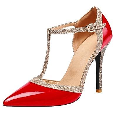 Smilice Damen Fashion Closed Toe Pumps Plateau Schuhe mit Stiletto Absatz
