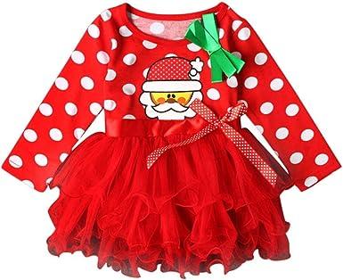 Vestidos de Navidad para Niñas, Bebé Niñas Ropa de Manga Larga Fiesta de Navidad Vestidos de tutú de Desfile 12 Mes - 6 Años: Amazon.es: Ropa y accesorios