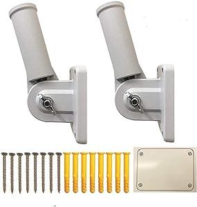 ABUSA Adjustbale Flag Pole Bracket Heavy Duty Aluminum Flag White Powder Coated Display Holder (2 Pack)