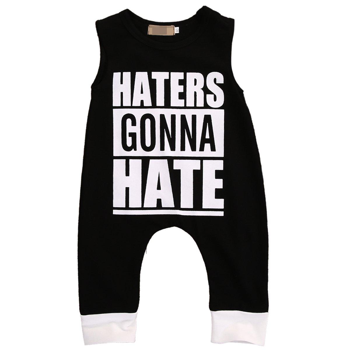 Kids Boy Girl Sleeveless Letters Print Romper Harem Pants Jumpsuit Playsuit