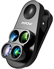 Mpow phone Lens 4-in-1 Clip-on fisheye lens, Phone Camera Lens 160°Fisheye Lens & 0.65X Wide Angle Lens & 10X Macro Lens & 1.5X Telephoto Lens for iPhoneX/XR/XS/ 8 Plus / 7 Plus / 6S / 6 plus (Black)