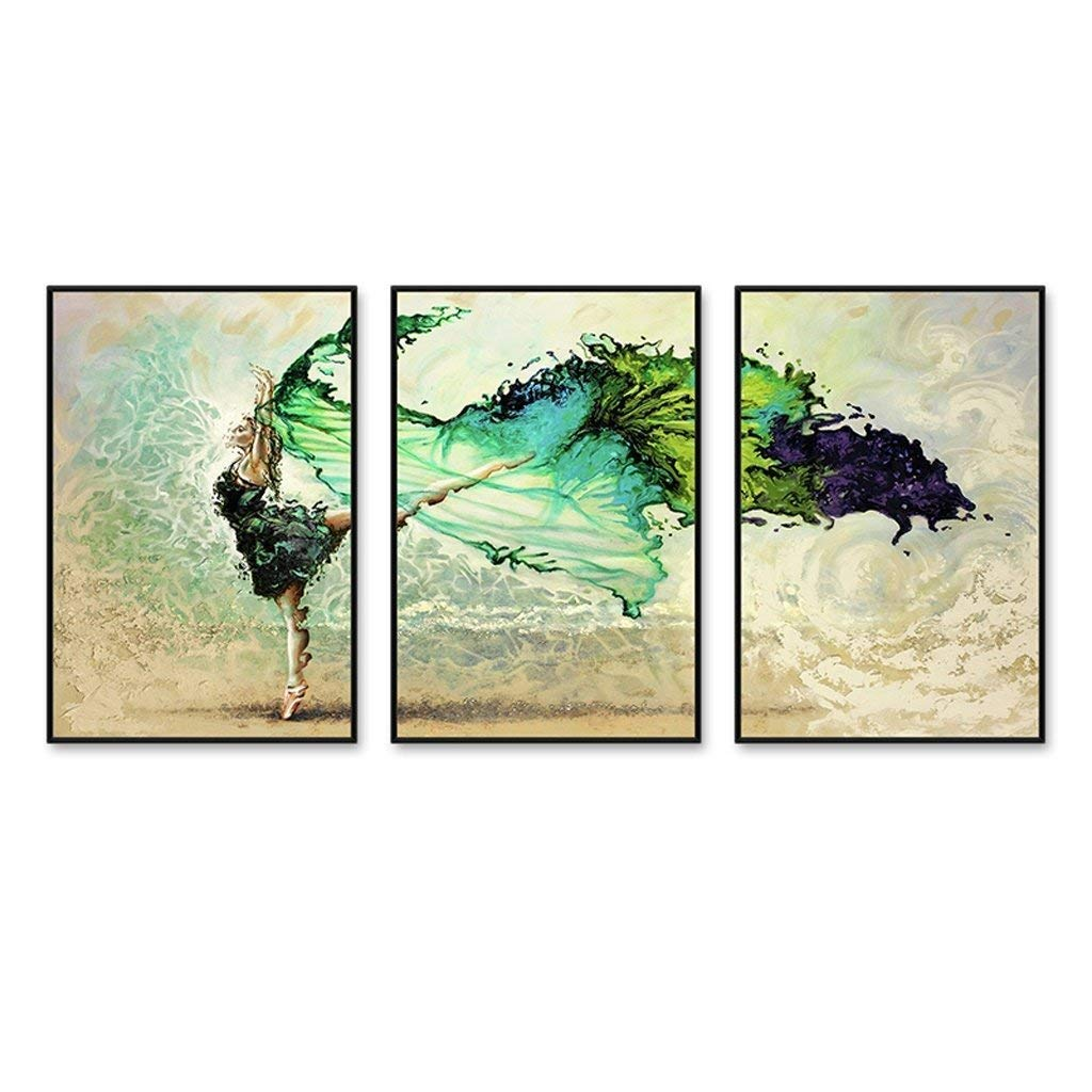 Xixuan Store Photo Wall 3 Multi Mural Set Solid Wood Green Soul Dancer 1 Triptych Living Room Mural for Living Room/with Pictures Photo Fram for Desk (Color : 60cmx90cm|Brushed Gold Frame)