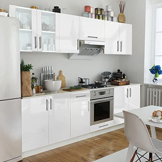 Furnituredeals Mueble de Cocina en Madera Set de 8 Muebles de Cocina Blanco Brillante 260 cm Mueble de Cocina para Almacenamiento – Mueble de Cocina para Almacenamiento: Amazon.es: Hogar