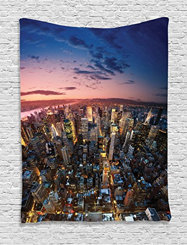 Nyc Street Scene (Ambesonne NYC Decor Collection, Manhattan At Last Sunlights of The Day Metropolitan Downtown Roofs State Structure , Bedroom Living Room Dorm Wall Hanging Tapestry, Pink Navy Yellow)