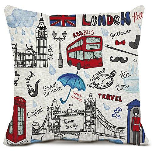 London Decorative Throw Pillow Covers Cotton Linen Square Cu
