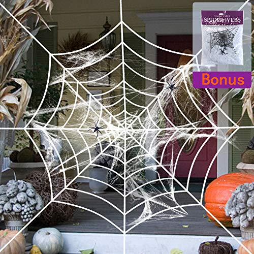 KIAYACI 9 Feet Stretchable Halloween Spider Web with Cobweb Set, Spider Halloween Decoration Decor Outdoor Yard Haunted House Party Decor Supplies Round White