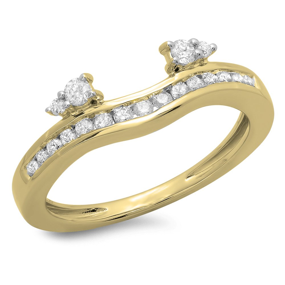 Dazzlingrock Collection 0.40 Carat (ctw) 10K Diamond Ladies Anniversary Wedding Enhancer Guard Band, Yellow Gold, Size 7.5