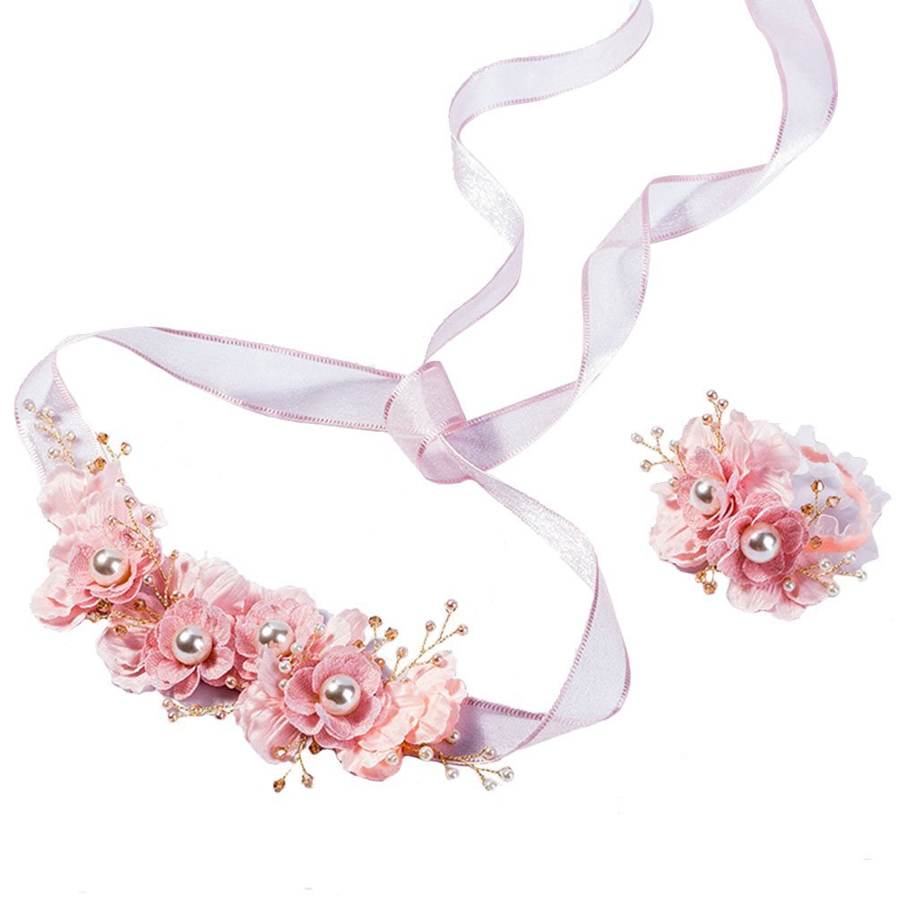 Flower Crown Garland with Ribbon Floral Wrist Band Set for Wedding Festival