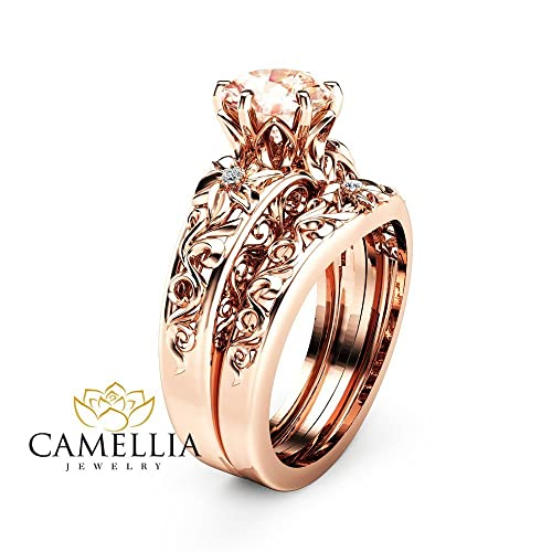 morganite wedding ring set 14k rose gold filigree ring with diamond matching band - Morganite Wedding Ring